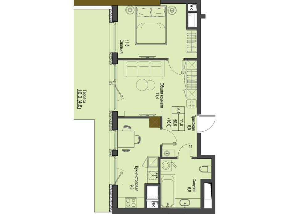 Планировка 2-комнатной квартиры в ЖК Первый Французский 50.6 м², фото 160751