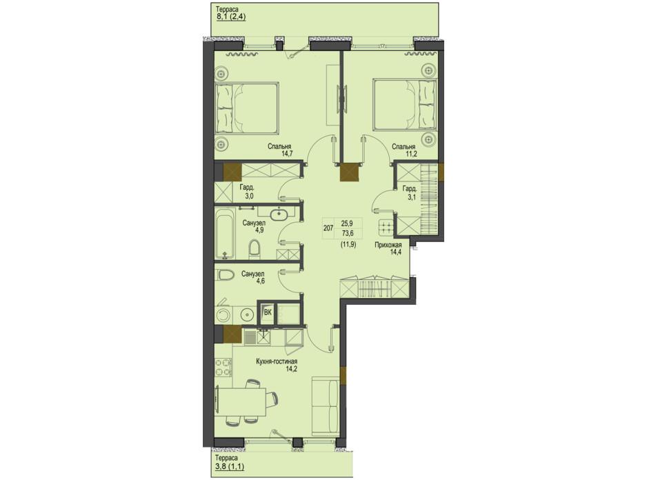 Планировка 2-комнатной квартиры в ЖК Первый Французский 73.6 м², фото 160752