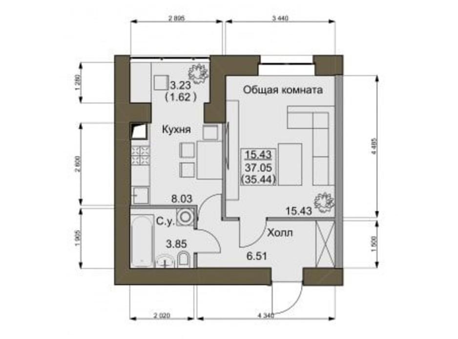 Планування квартири студії в ЖК Софіївський квартал 34 м², фото 161191