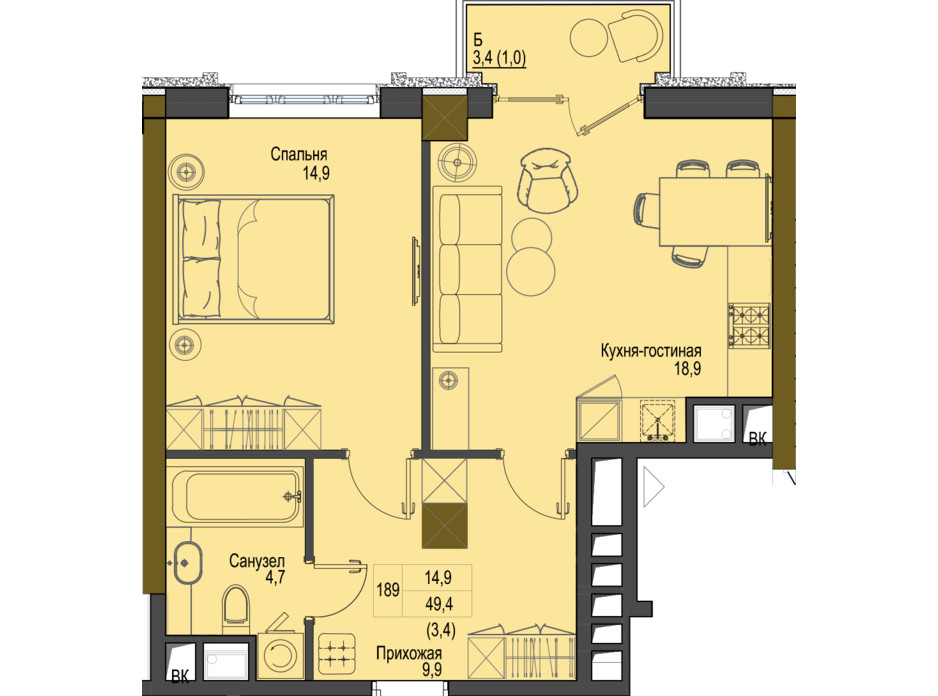 Планировка 1-комнатной квартиры в ЖК Первый Французский 49.4 м², фото 161473