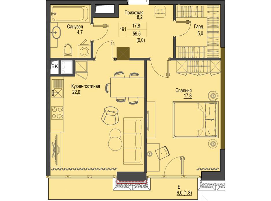 Планировка 1-комнатной квартиры в ЖК Первый Французский 59.5 м², фото 161474