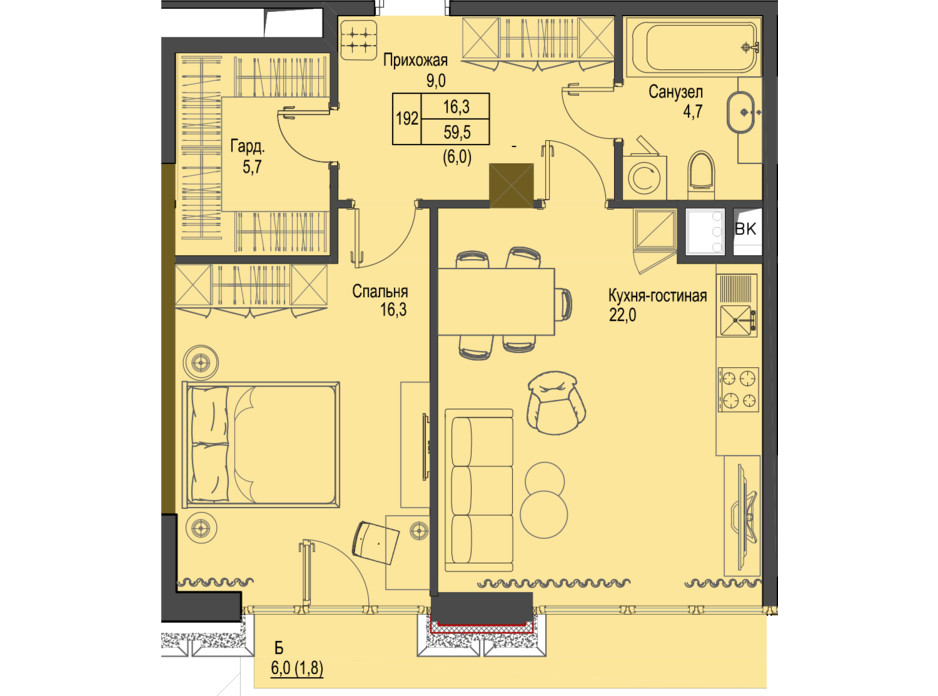 Планировка 1-комнатной квартиры в ЖК Первый Французский 59.5 м², фото 161475