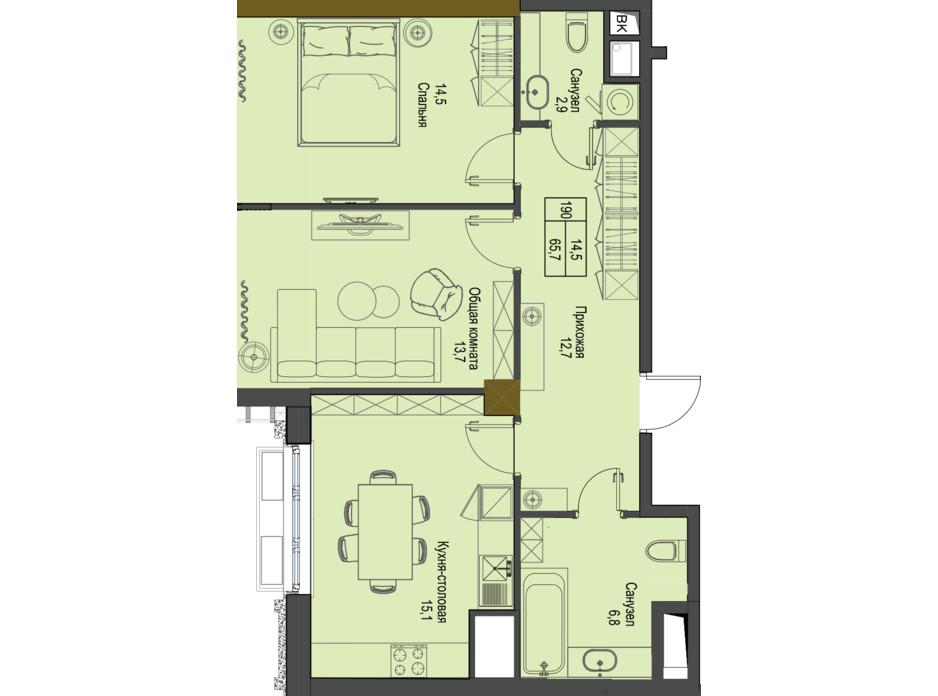 Планування 2-кімнатної квартири в ЖК Перший Французький 65.7 м², фото 161476