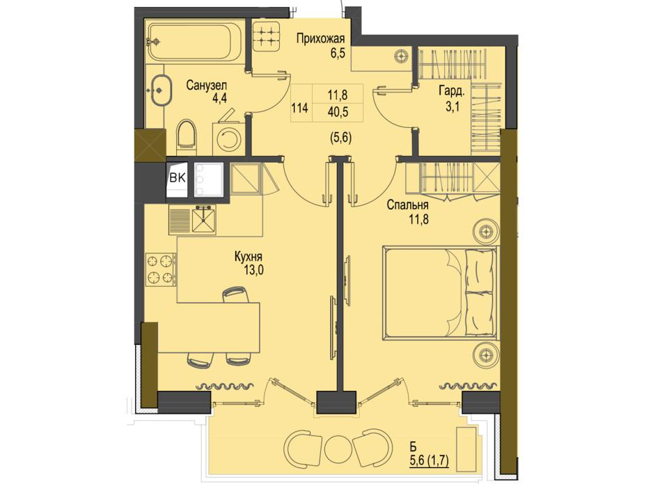 Планировка 1-комнатной квартиры в ЖК Первый Французский 40.5 м², фото 161478