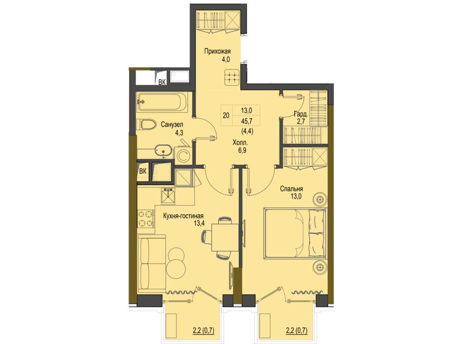 Планировка 1-комнатной квартиры в ЖК Первый Французский 45.7 м², фото 161479