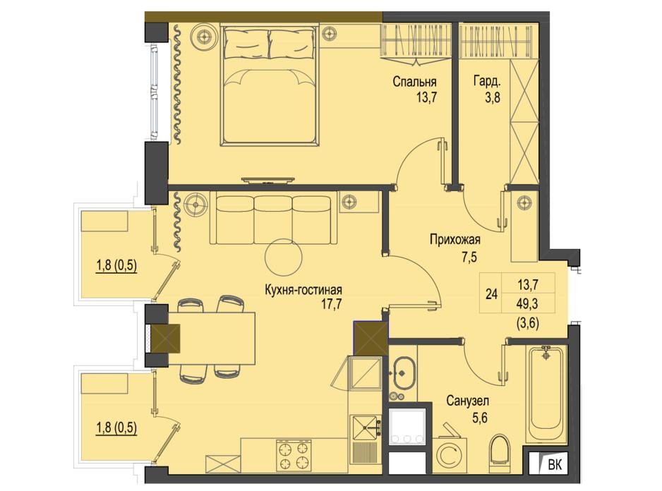 Планировка 1-комнатной квартиры в ЖК Первый Французский 49.3 м², фото 161482