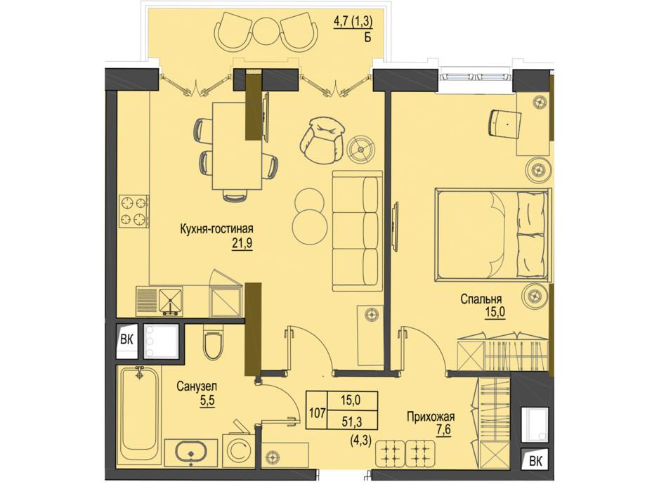 Планировка 1-комнатной квартиры в ЖК Первый Французский 51.3 м², фото 161483