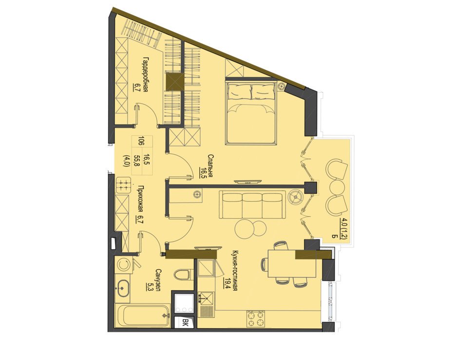 Планировка 1-комнатной квартиры в ЖК Первый Французский 55.8 м², фото 161485