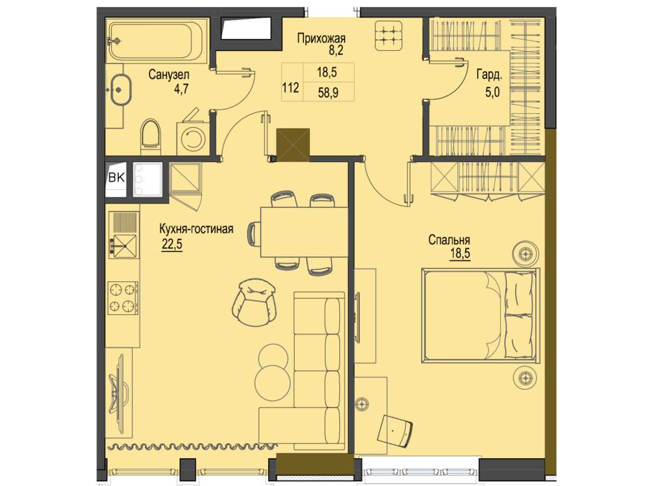 Планировка 1-комнатной квартиры в ЖК Первый Французский 58.9 м², фото 161486