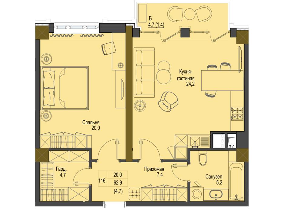 Планировка 1-комнатной квартиры в ЖК Первый Французский 62.9 м², фото 161487
