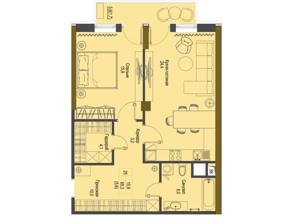 Планировка 1-комнатной квартиры в ЖК Первый Французский 65.3 м², фото 161489