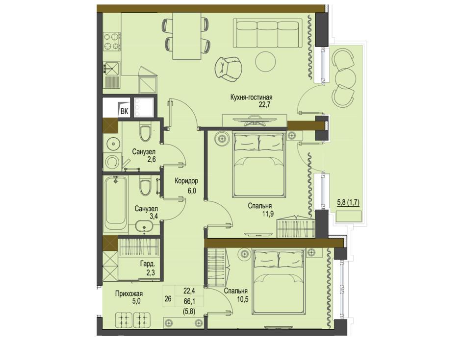 Планировка 2-комнатной квартиры в ЖК Первый Французский 66.1 м², фото 161492