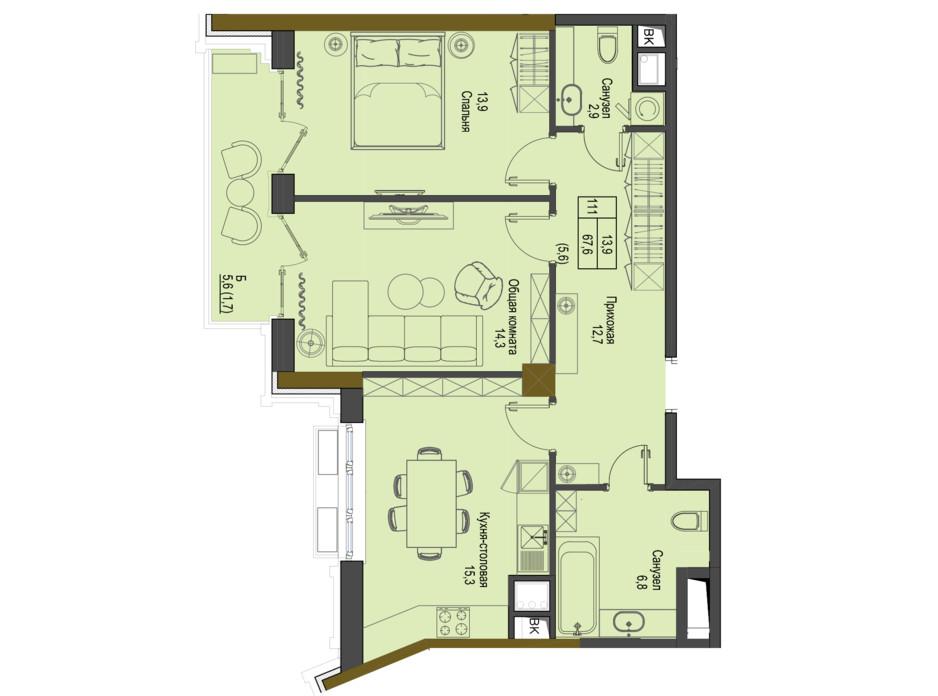 Планировка 2-комнатной квартиры в ЖК Первый Французский 67.9 м², фото 161493
