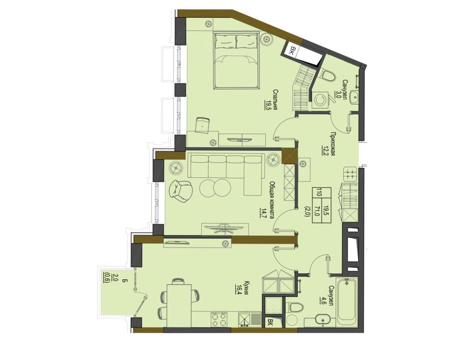 Планировка 2-комнатной квартиры в ЖК Первый Французский 71 м², фото 161494