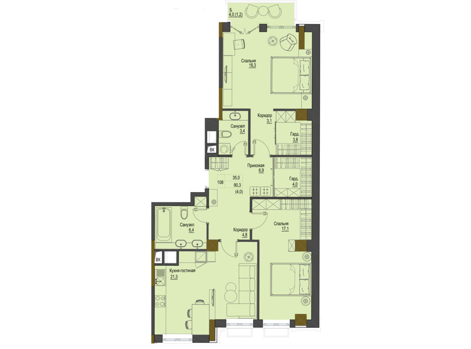 Планування 2-кімнатної квартири в ЖК Перший Французький 90.3 м², фото 161495
