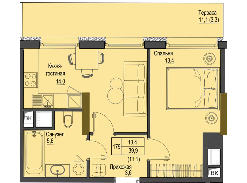 Планировка 1-комнатной квартиры в ЖК Первый Французский 39.9 м², фото 161521