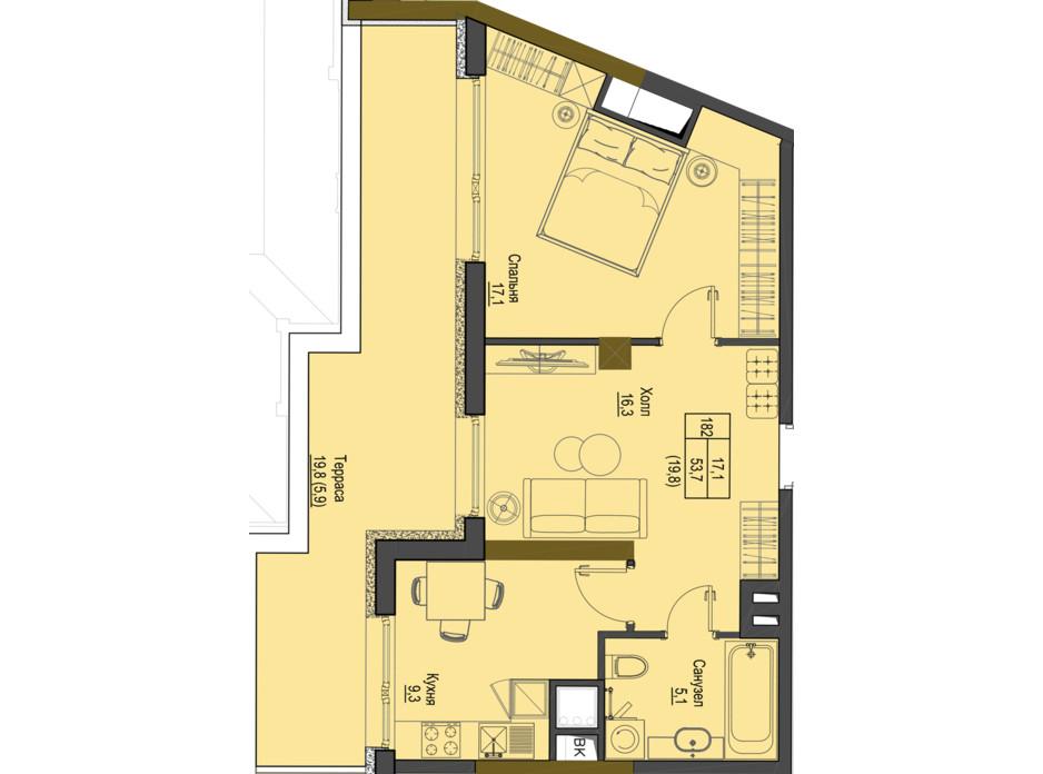 Планировка 1-комнатной квартиры в ЖК Первый Французский 49.8 м², фото 161525