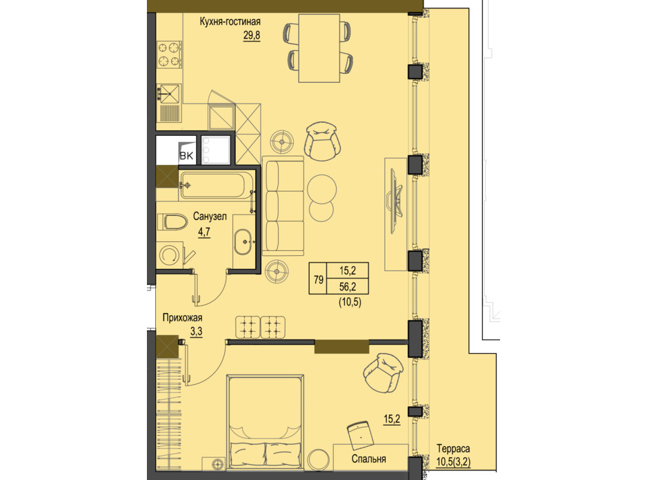 Планировка 1-комнатной квартиры в ЖК Первый Французский 56.2 м², фото 161529
