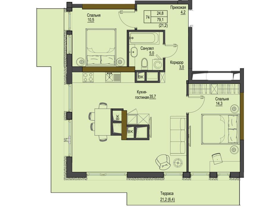 Планировка 2-комнатной квартиры в ЖК Первый Французский 79.1 м², фото 161532