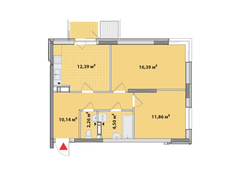 Планировка 2-комнатной квартиры в ЖК Академ-Квартал 60.25 м², фото 161798
