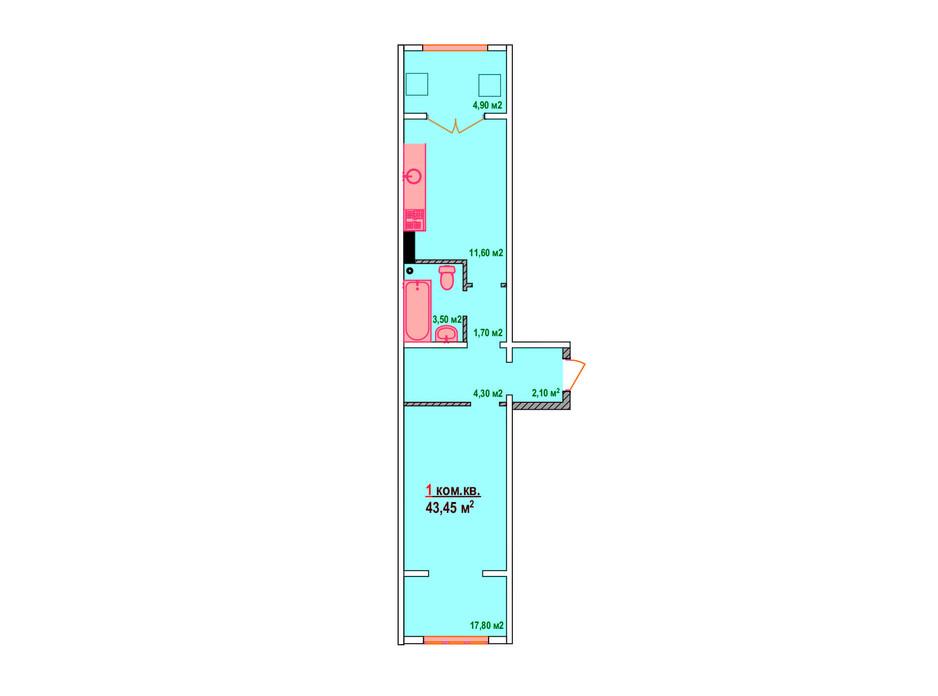 Планировка 1-комнатной квартиры в ЖК Казак Сити 43.45 м², фото 161882