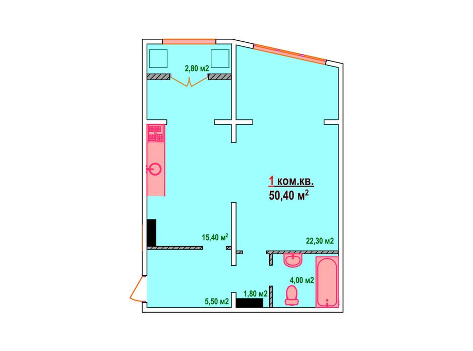 Планировка 1-комнатной квартиры в ЖК Казак Сити 50.4 м², фото 161883