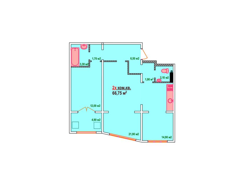Планировка 2-комнатной квартиры в ЖК Казак Сити 66.75 м², фото 161889