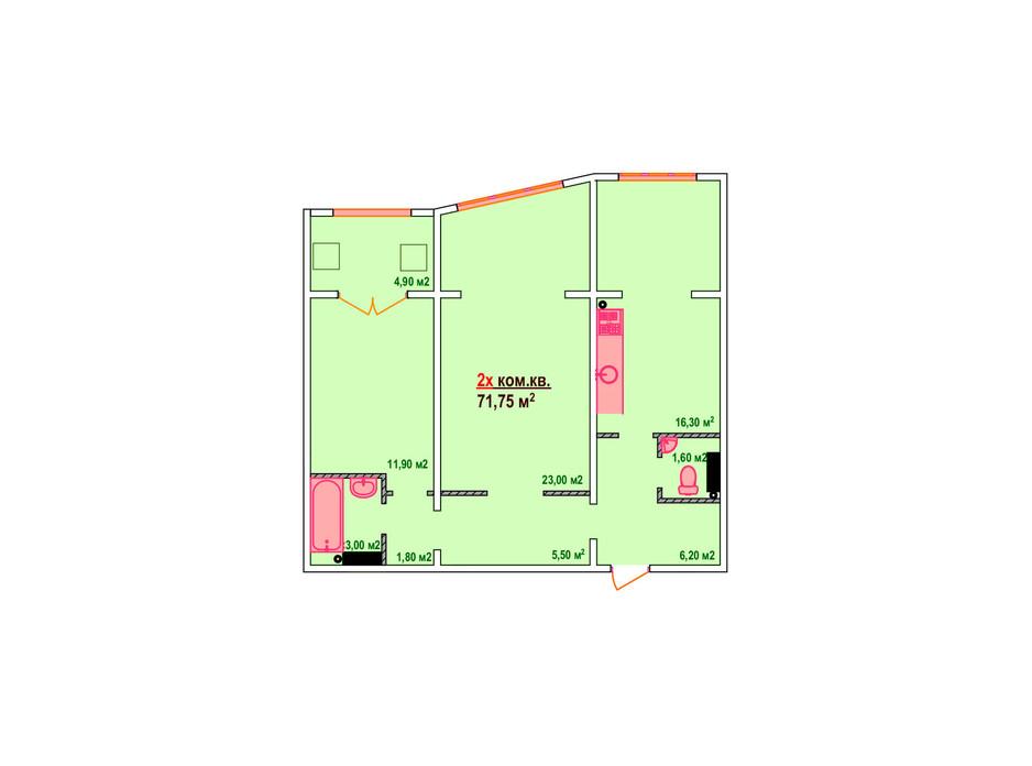 Планування 2-кімнатної квартири в ЖК Козак Сіті 71.75 м², фото 161891