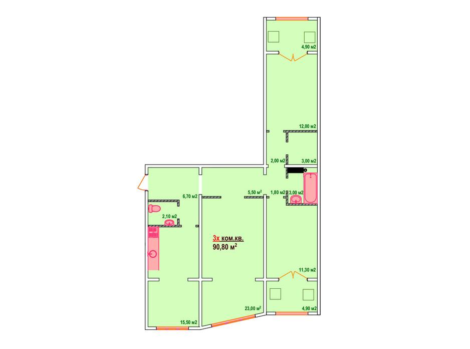Планировка 3-комнатной квартиры в ЖК Казак Сити 90.8 м², фото 161894