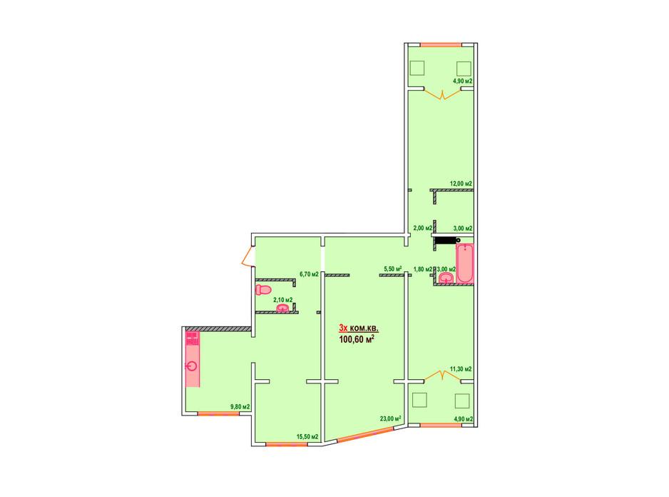 Планировка 3-комнатной квартиры в ЖК Казак Сити 100.6 м², фото 161895