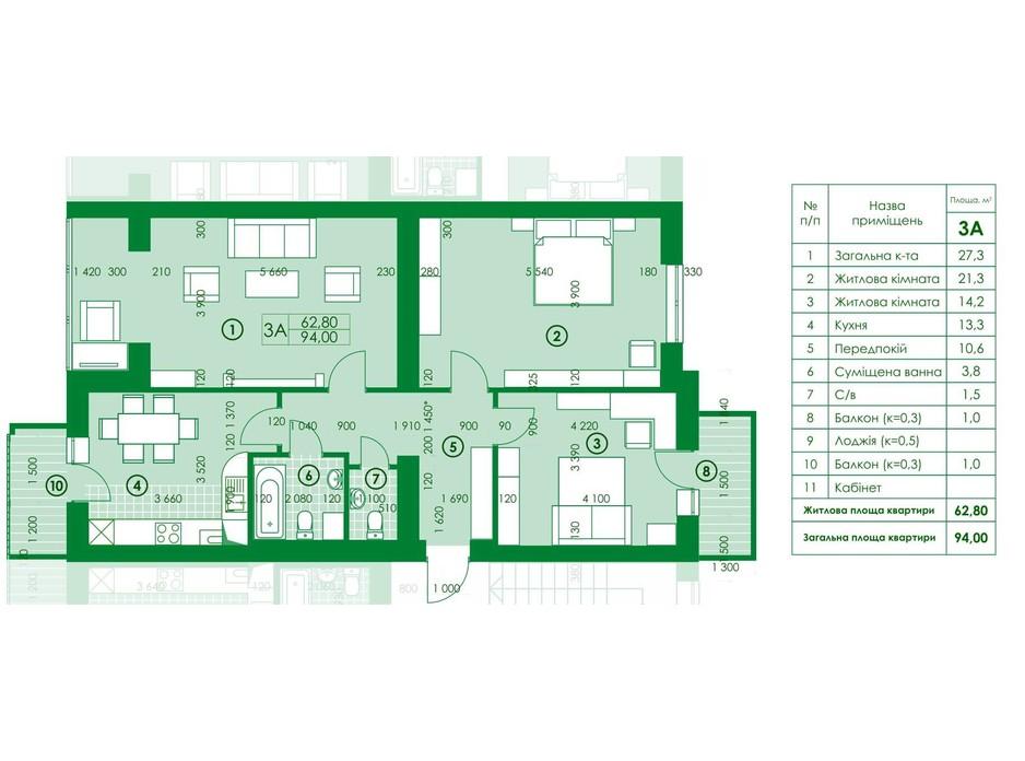 Планировка 3-комнатной квартиры в ЖК Квартал Парковый 94 м², фото 161971