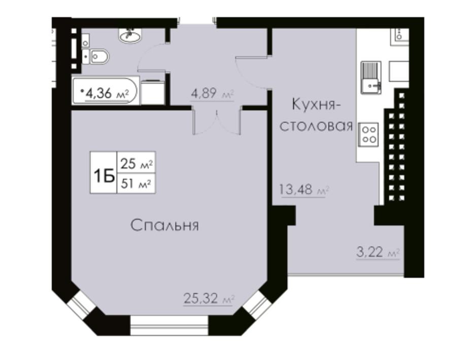 Планировка 1-комнатной квартиры в ЖК Марко Поло 51 м², фото 162523