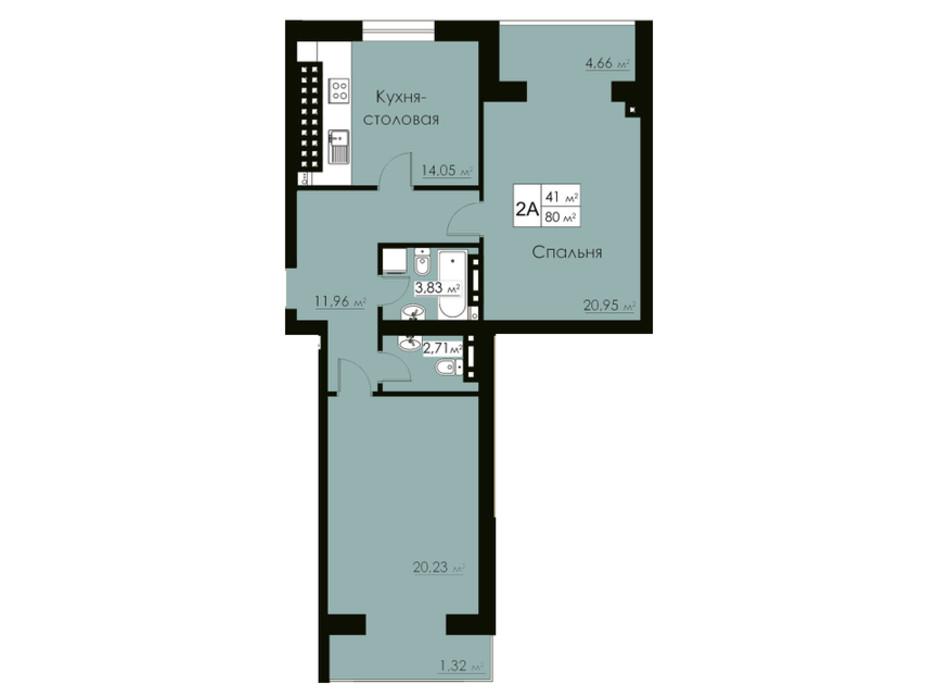 Планировка 2-комнатной квартиры в ЖК Марко Поло 82 м², фото 162524