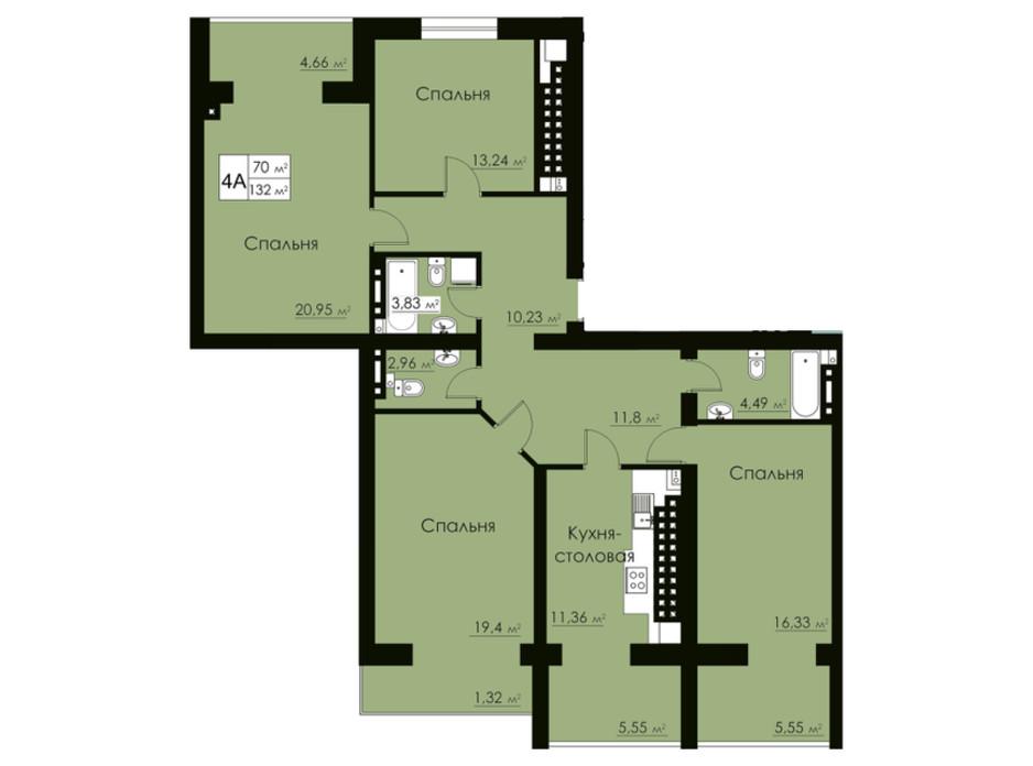 Планировка 4-комнатной квартиры в ЖК Марко Поло 132 м², фото 162526