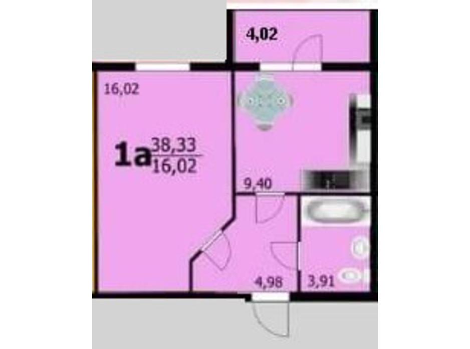 Планування 1-кімнатної квартири в ЖК Європейський 38.33 м², фото 162750