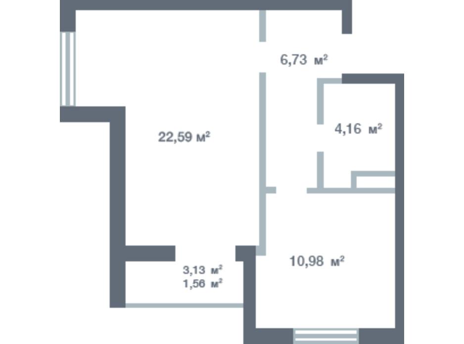 Планування 1-кімнатної квартири в ЖК Новосел 45.49 м², фото 163334