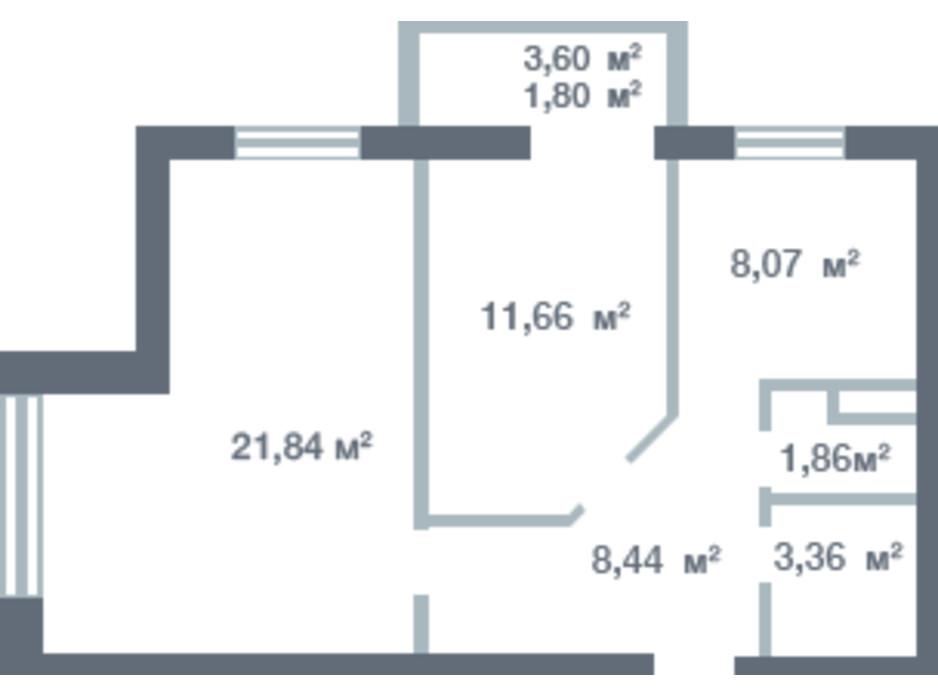 Планування 2-кімнатної квартири в ЖК Новосел 51.61 м², фото 163335
