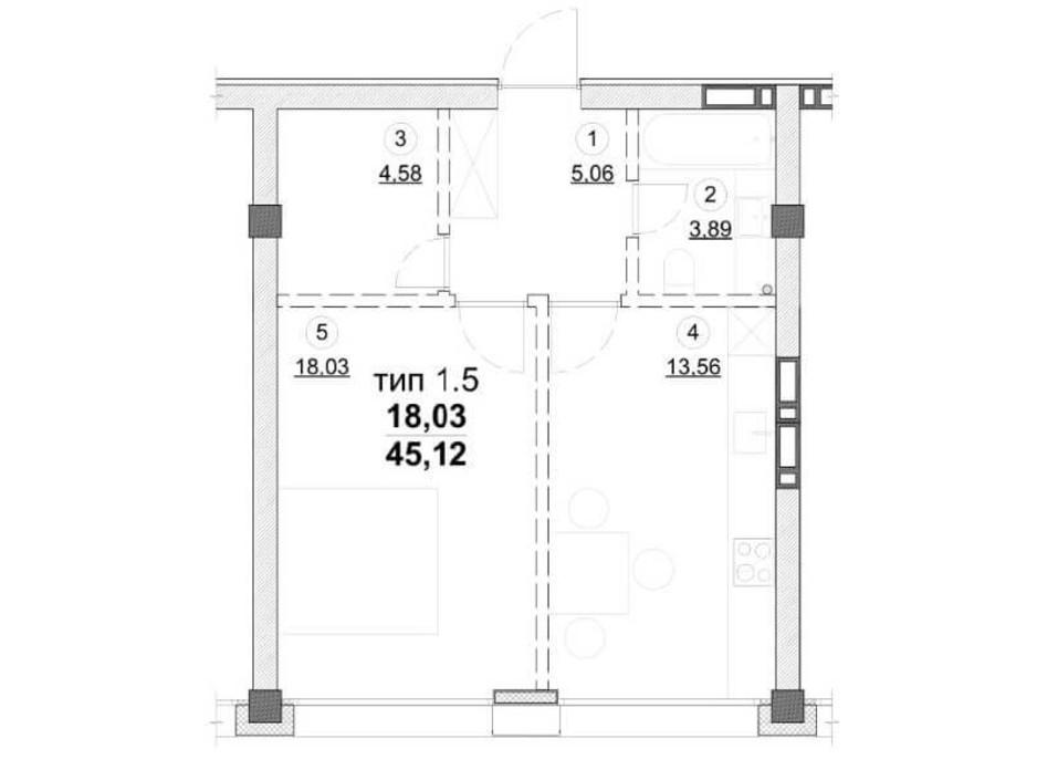 Планировка 1-комнатной квартиры в ЖК Олимпийский New 45.12 м², фото 163547