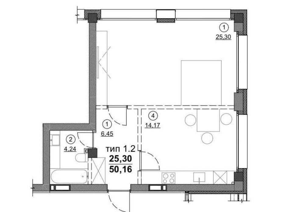 Планировка 1-комнатной квартиры в ЖК Олимпийский New 50.16 м², фото 163548