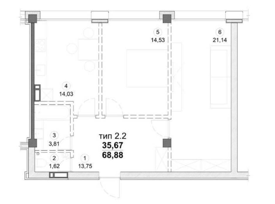 Планировка 2-комнатной квартиры в ЖК Олимпийский New 69 м², фото 163549