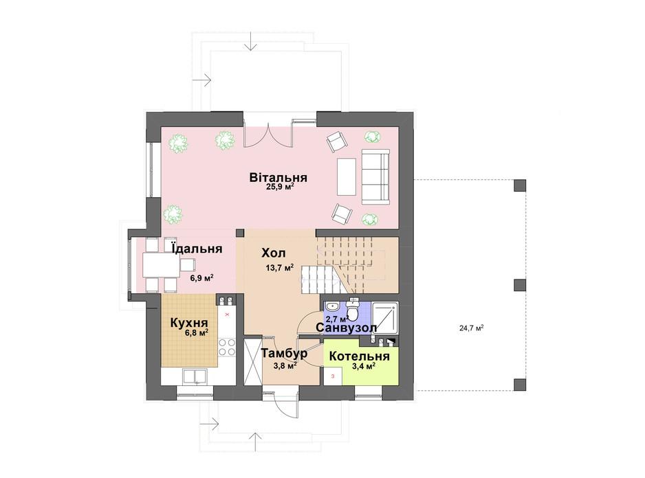 Планування котеджу в КМ Praud Hills 124 м², фото 163823