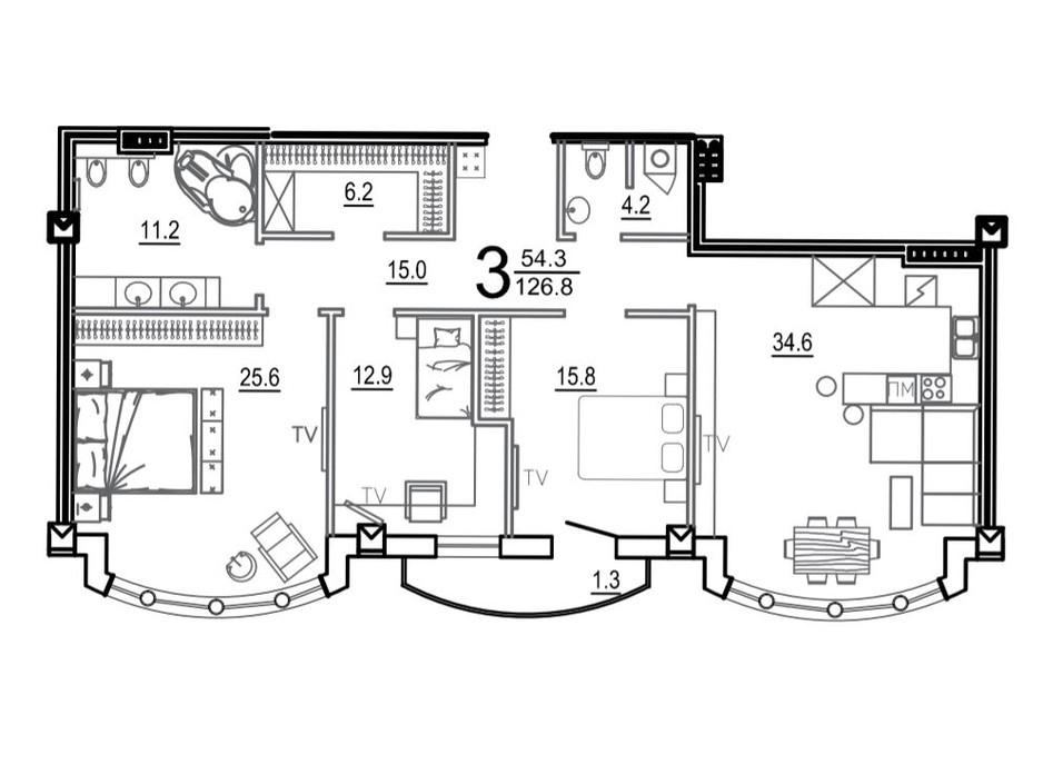 Планировка 3-комнатной квартиры в КД Biarritz 126.8 м², фото 164130