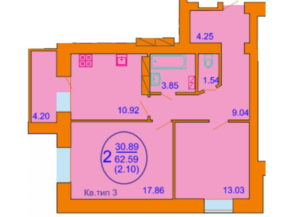 Планування 2-кімнатної квартири в ЖК Софія Київська 62.59 м², фото 164515