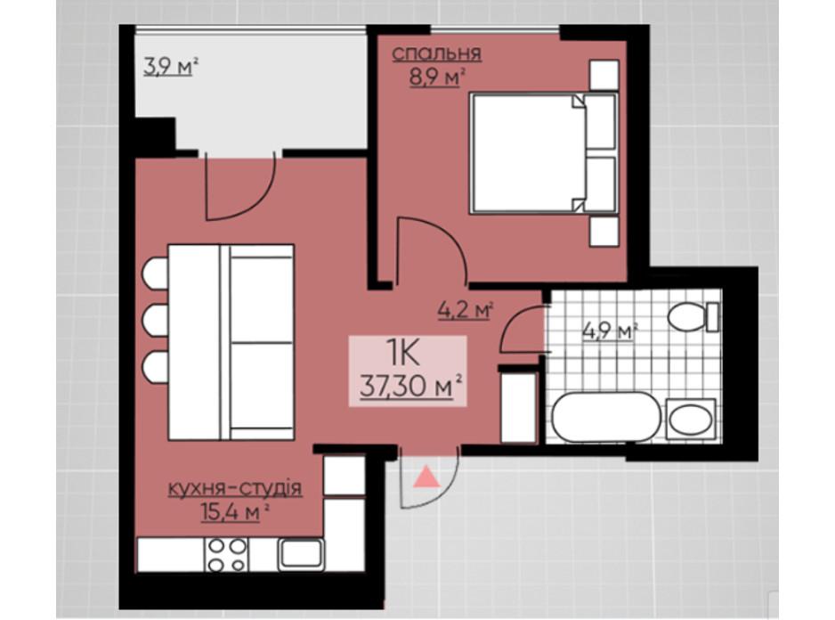 Планування 1-кімнатної квартири в ЖК Provance Home 37.3 м², фото 164803