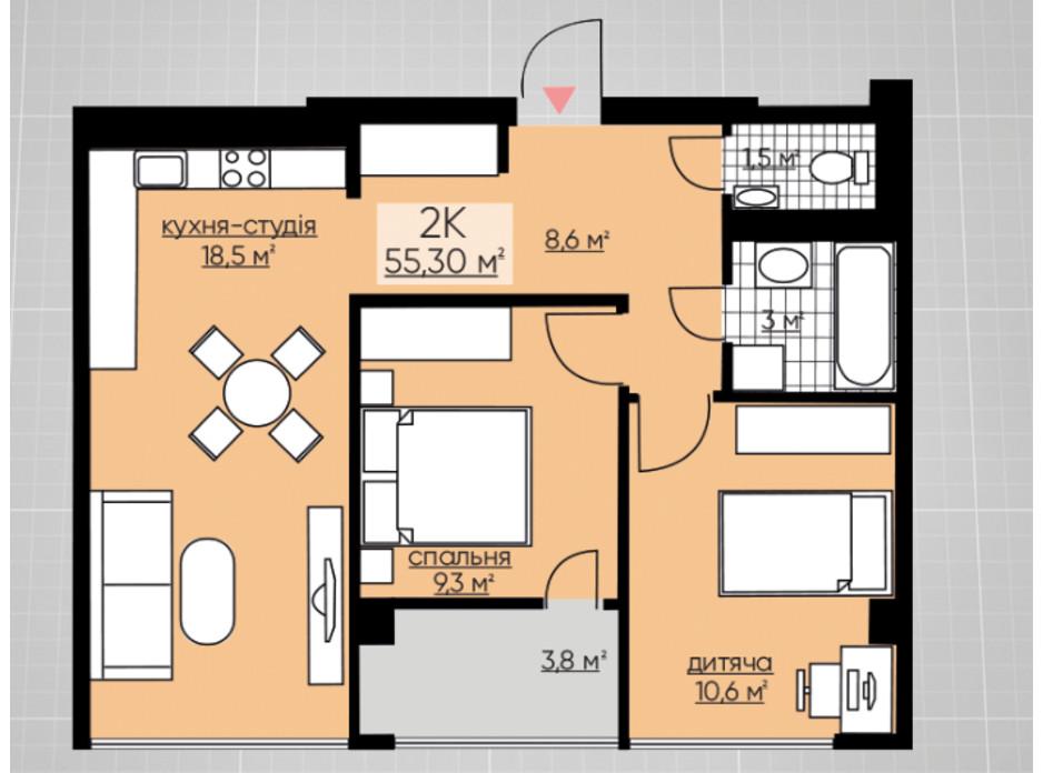 Планування 2-кімнатної квартири в ЖК Provance Home 55.3 м², фото 164809