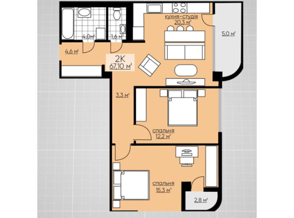 Планування 2-кімнатної квартири в ЖК Provance Home 67.1 м², фото 164810