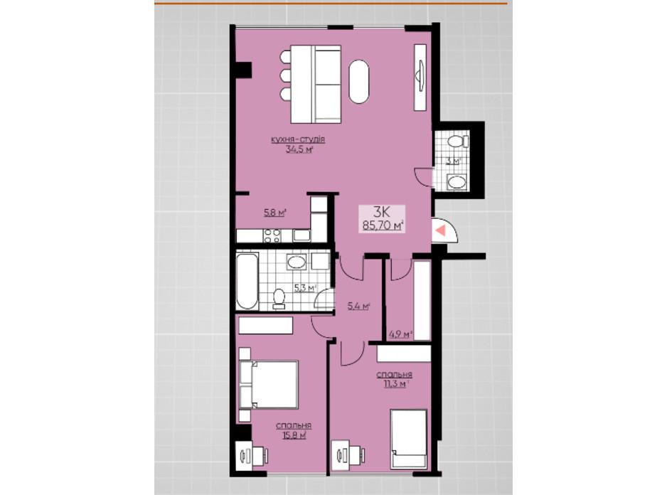 Планування 3-кімнатної квартири в ЖК Provance Home 85.7 м², фото 164812