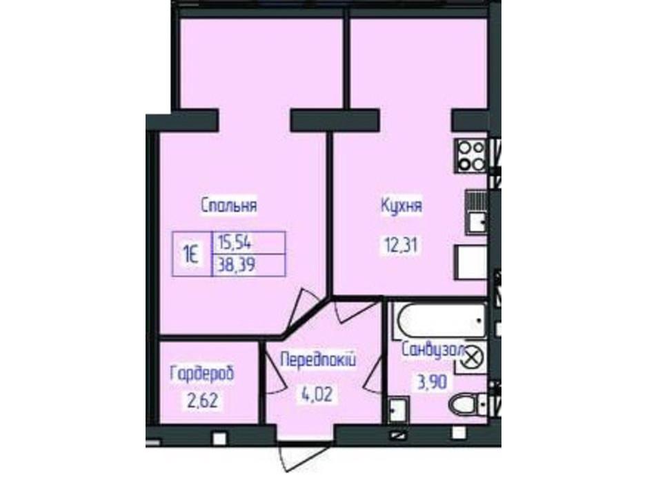 Планировка 1-комнатной квартиры в ЖК Польский бульвар 38.39 м², фото 164894