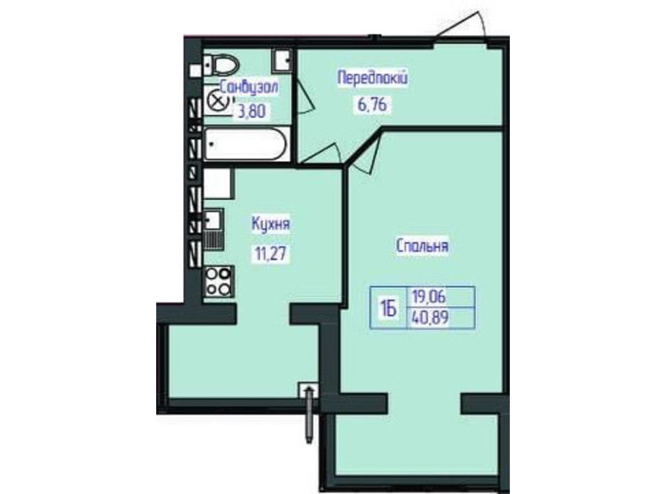 Планировка 1-комнатной квартиры в ЖК Польский бульвар 40.89 м², фото 164897