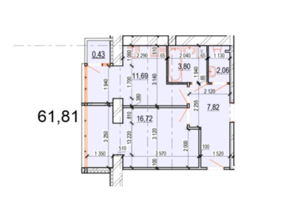 Планировка 2-комнатной квартиры в ЖК Жемчужина Подолья 61.81 м², фото 165408